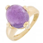 Bague am�thyste et diamants 0,10 carat en or jaune - Occasion