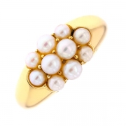 Bague pavage de perles en or jaune