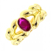 Bague tress?e rubis 0.85 carat en or jaune