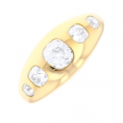 Bague jonc diamants 1.05 carat en or jaune