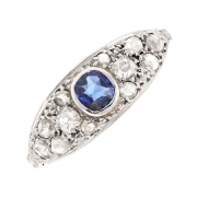 Bague saphir 0.34 carat et diamants 0.40 carat en platine