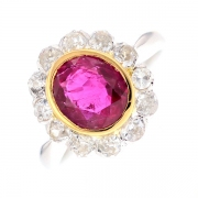 Bague marguerite rubis 1.57 carat et diamants 0.60 carat en or jaune et platine