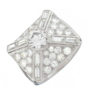 Bague style ART DECO diamants 3 carats en platine