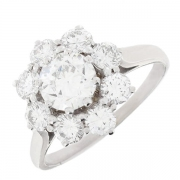 Bague marguerite diamants 2,23 carats en platine