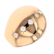 Bague jonc diamants 0.21 carat en or rose