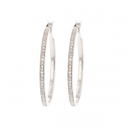 Boucles d'oreilles créoles diamants 0.35 carat en or blanc