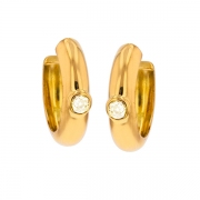 Boucles d'oreilles créoles diamants 0.40 carat en or jaune