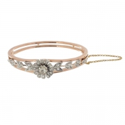 Bracelet jonc floral diamants 0,95 carat en or rose