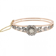 Sublime bracelet jonc motif floral diamants 0,30 carat en or rose et argent