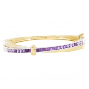Guy Laroche - Bracelet jonc am�thystes en or bicolore