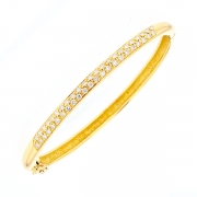 Bracelet jonc rigide ouvrant diamants 0.92 carat en or jaune