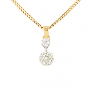 Pendentif diamants 0.87 carat en or bicolore