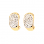 Boucles d'oreilles pavages diamants 0.48 carat en or bicolore