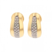 Boucles d'oreilles créoles diamants 0.30 carat en or bicolore