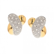 Boucles d'oreilles diamants 0.75 carat en or bicolore