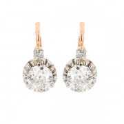 Boucles d'oreilles dormeuses diamants 1.83 carat en or bicolore