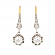 Boucles d'oreilles dormeuses diamants 0.79 carat en or bicolore