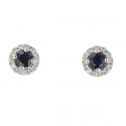 Boucles d'oreilles saphirs 0,76 carat et diamants en or blanc