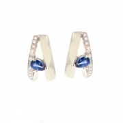 Boucles d'oreilles saphirs 0.40 carat et diamants en or blanc