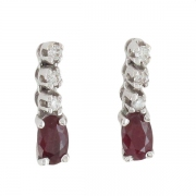 Boucles d'oreilles rubis et diamants 0,09 carat en or blanc - Neuves