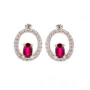 Boucles d'oreilles diamants 0.22 carat et rubis en or blanc