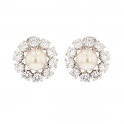 Boucles d'oreilles perles et diamants 2 carats en or blanc