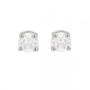 Puces d'oreilles diamants 0.37 carat en or blanc