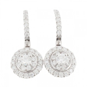 Boucles d'oreilles diamants 0,76 carat en or blanc