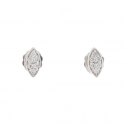 Boucles d'oreilles navettes diamants 0,16 carat en or blanc