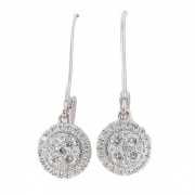 Boucles d'oreilles pendantes diamants 0,41 carat en or blanc