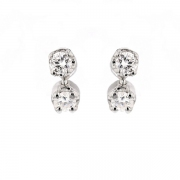 Boucles d'oreilles diamants 0.20 carat en or blanc