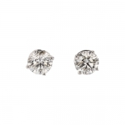 Puces d'oreilles diamants 0,80 carat en or blanc