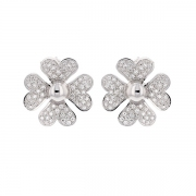 Boucles d'oreilles trèfles diamants 0.72 carat en or blanc