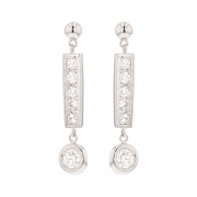 Boucles d'oreilles pendantes diamants 1 carat en or blanc