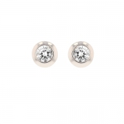 Puces d'oreilles diamants 0.24 carat en or blanc