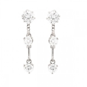 Puces d'oreilles pendantes mobiles diamants 1.88 carat en or blanc