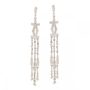 Boucles d'oreilles pendantes diamants 0.50 carat en or blanc
