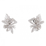 Boucles d'oreilles vintage diamants 1,06 carat en or blanc