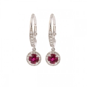 Boucles d'oreilles diamants et rubis en or blanc