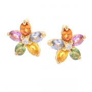 Boucles d'oreilles diamants 0.10 carat pierres fines en or jaune