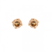 Puces d'oreilles diamants cognac 0.90 carat en or jaune