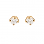 Puces d'oreilles diamants 0.38 carat en or jaune