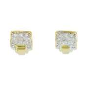 Boucles d'oreilles diamants en or jaune et or blanc