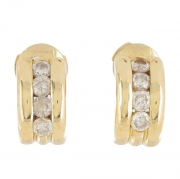 Boucles d'oreilles diamants 0,40 carat en or jaune