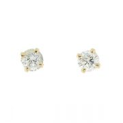 Puces d'oreilles diamants 0,40 carat en or jaune