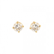 Puces d'oreilles diamants 0.60 carat en or jaune