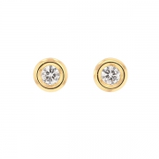 Puces d'oreilles diamants 0.36 carat en or jaune