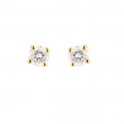 Puces d'oreilles diamants 0.50 carat en or jaune