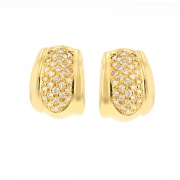 Boucles d'oreilles pavages diamants 0.62 carat en or jaune