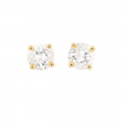 Puces d'oreilles diamants 0.66 carat en or jaune